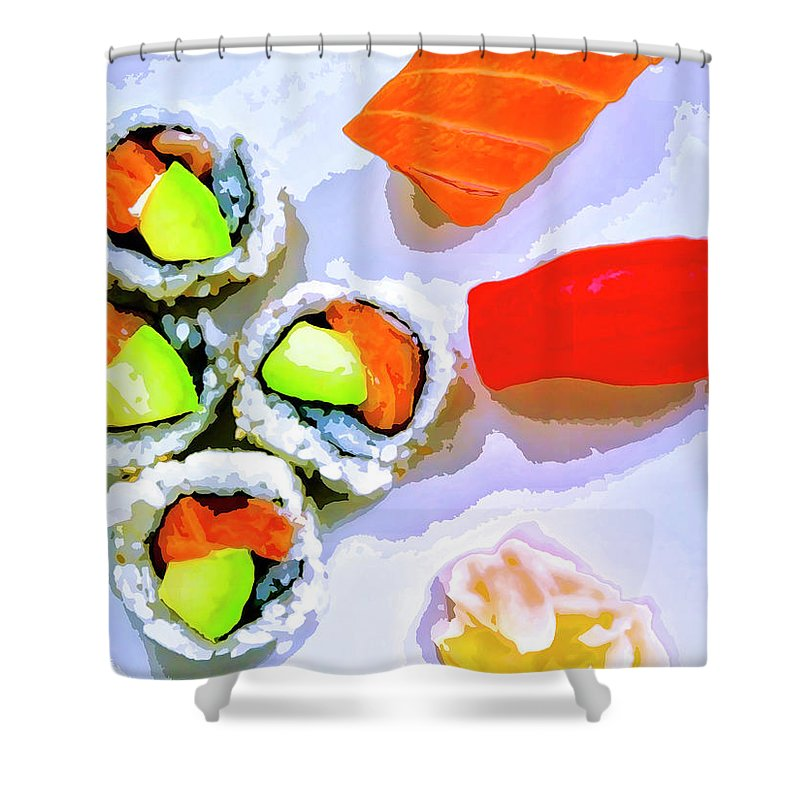 Sushi Plate Shower Curtain featuring the mixed media Sushi Plate 6 by Dominic Piperata