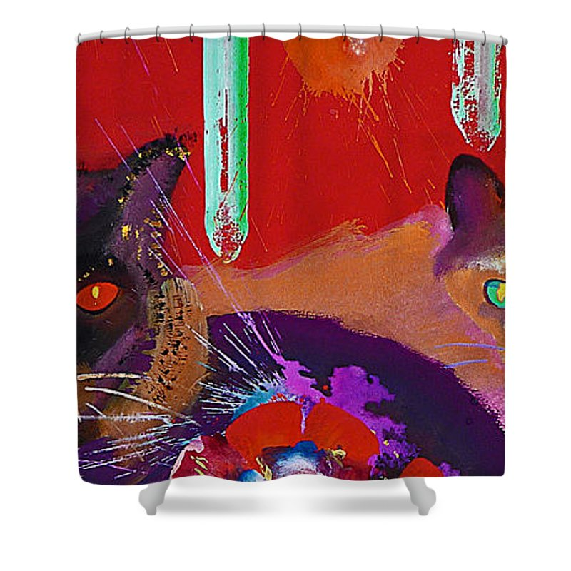 Cat Shower Curtain featuring the painting Suspicious Minds by Charles Stuart