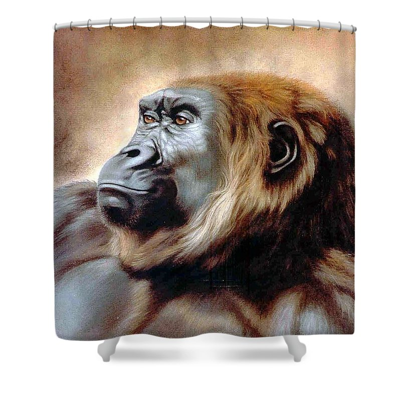 Gorilla Shower Curtain featuring the painting Suzie Q by Deb Owens-Lowe