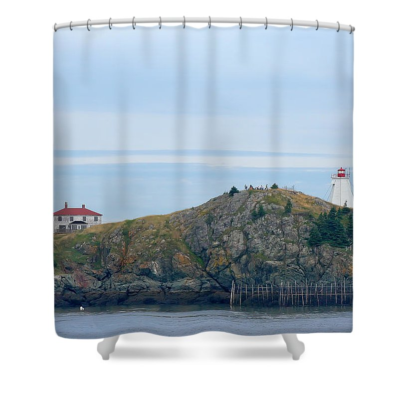 Lighthouse Shower Curtain featuring the photograph Swallowtail Lighthouse And Keeper by Thomas Marchessault