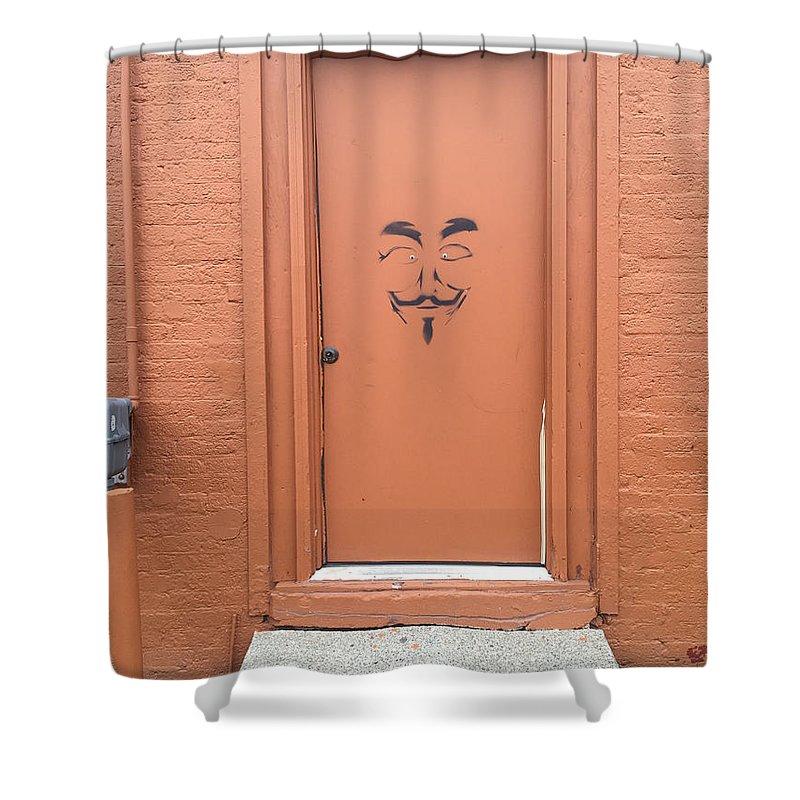 Graffiti Shower Curtain featuring the photograph Swann Door by Joseph Yarbrough
