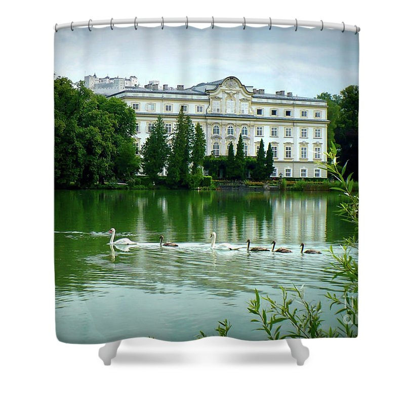 Austrian Lake Shower Curtain featuring the photograph Swans On Austrian Lake by Carol Groenen