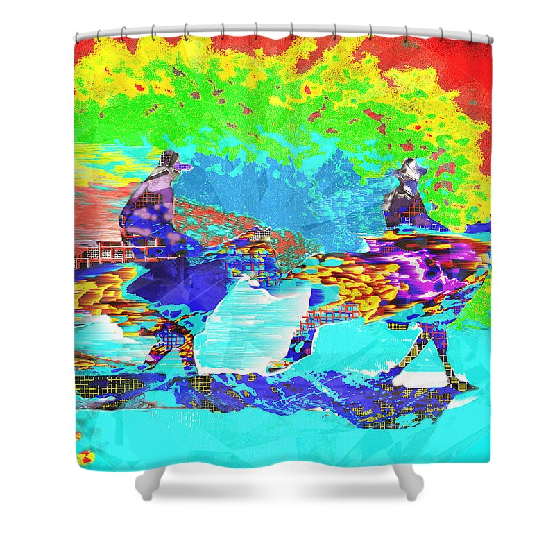 Sweating Shower Curtain featuring the digital art Sweating Fire by Seth Weaver