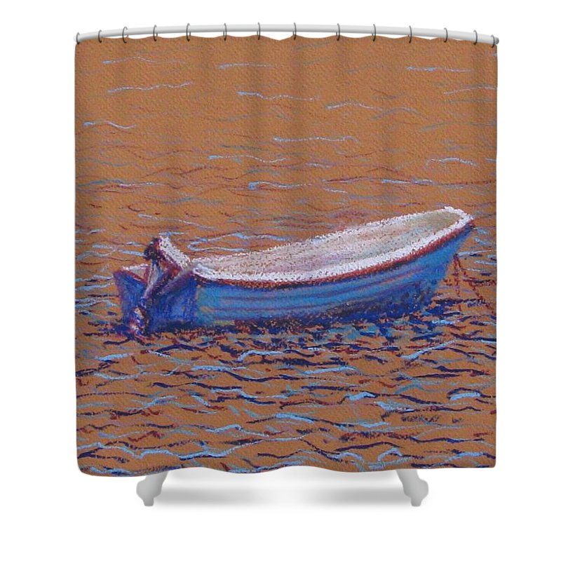 Boat Shower Curtain featuring the pastel Swedish Boat by Art Nomad Sandra Hansen