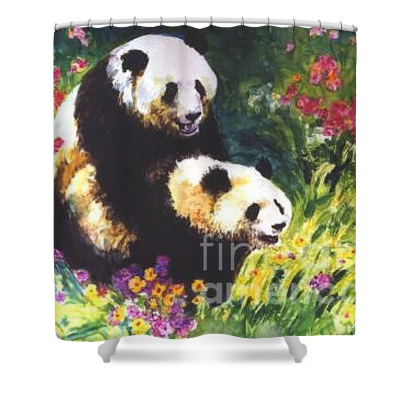 Panda Shower Curtain featuring the painting Sweet As Honey by Guanyu Shi