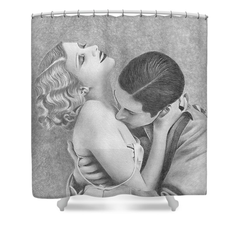 Couple Shower Curtain featuring the drawing Sweet Caress by Karen Townsend