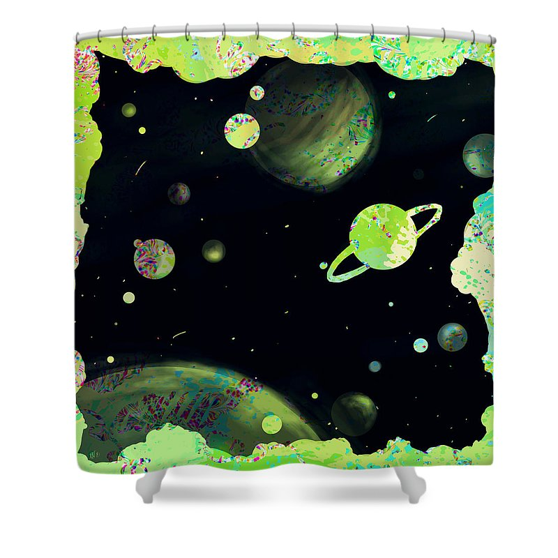 Abstract Shower Curtain featuring the digital art Sweet Dreams And Starry Nights by Rachel Christine Nowicki