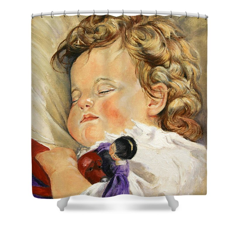 Children Portraits Shower Curtain featuring the painting Sweet Dreams by Portraits By NC
