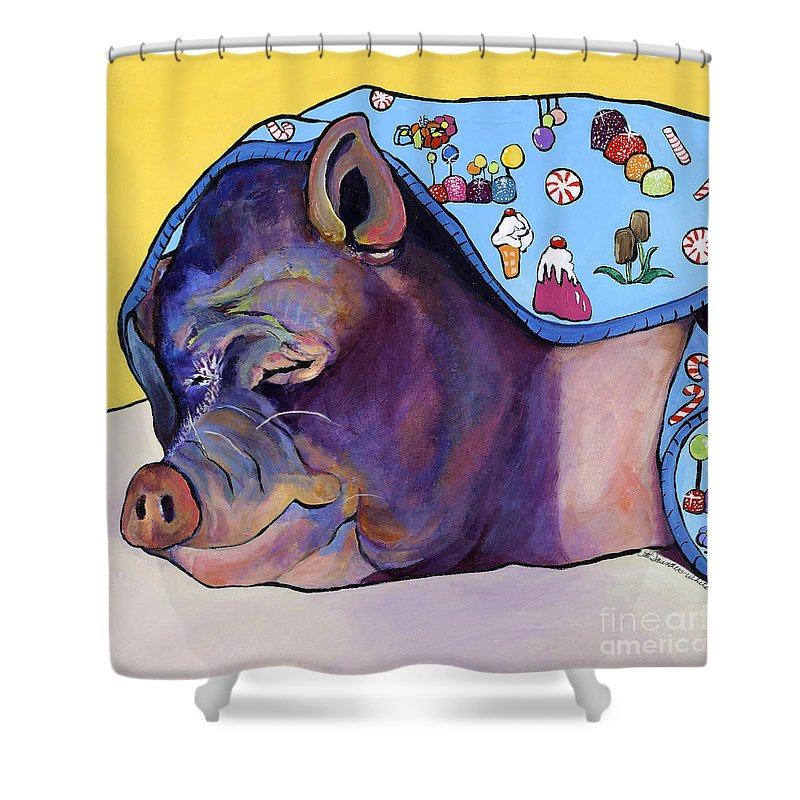 Farm Animal Shower Curtain featuring the painting Sweet Dreams by Pat Saunders-White
