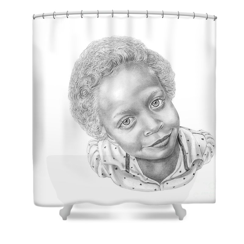 Portrait Shower Curtain featuring the drawing Sweet Eyes by Murphy Elliott