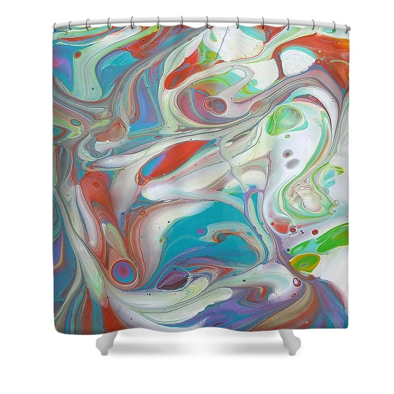 Abstract Shower Curtain featuring the painting Sweet Fragrance by Rosa Lopez