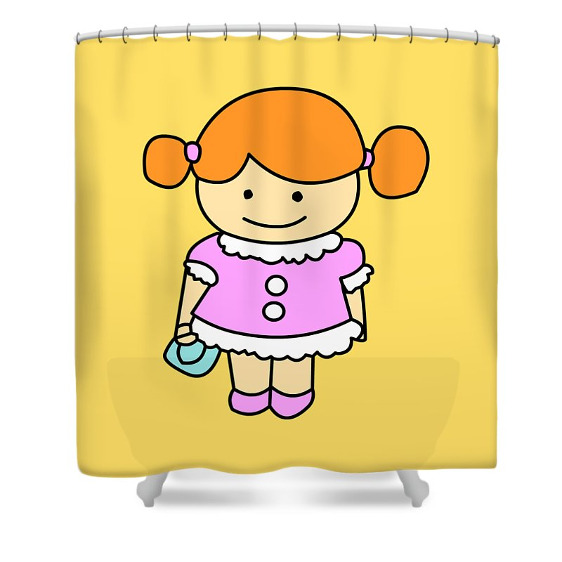 Sweet Girl With A Bag! Shower Curtain featuring the digital art Sweet Girl by Mokile
