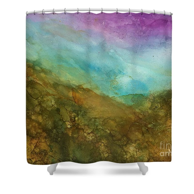 Landscape Shower Curtain featuring the painting Sweet Hills by Nancy Koehler