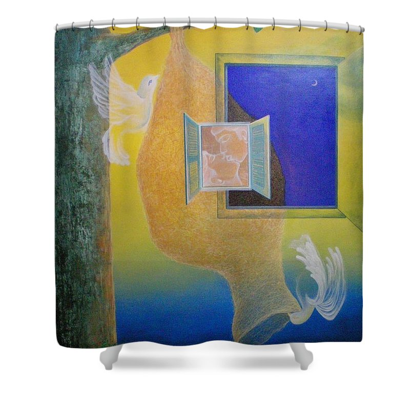 Romantic Shower Curtain featuring the painting Sweet Home by Raju Bose