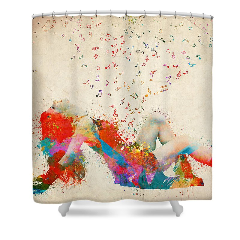 Song Shower Curtain featuring the digital art Sweet Jenny Bursting With Music by Nikki Smith