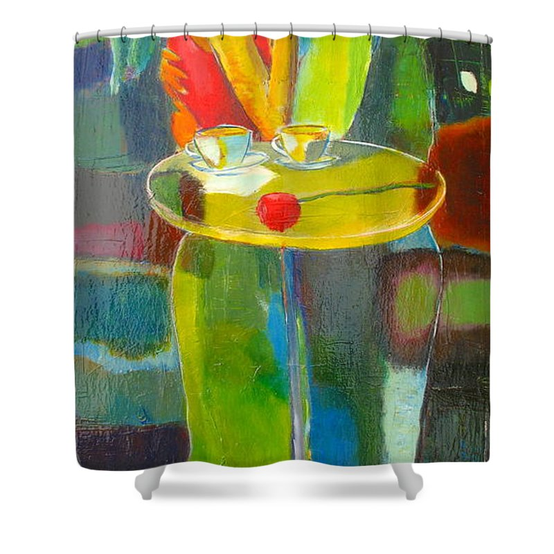 Love Shower Curtain featuring the painting Sweet Moment by Habib Ayat