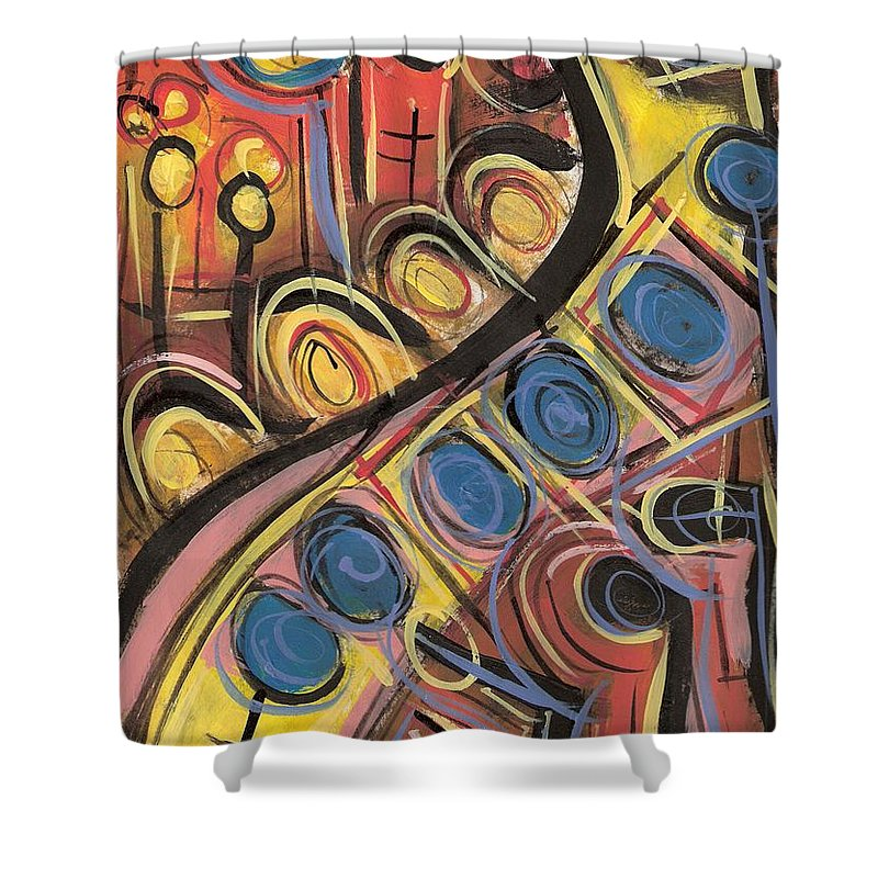 Abstract Painting Shower Curtain featuring the painting Sweet Music by Americo Salazar