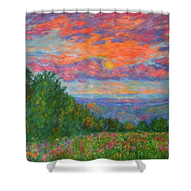 Landscapes For Sale Shower Curtain featuring the painting Sweet Pea Morning on the Blue Ridge by Kendall Kessler