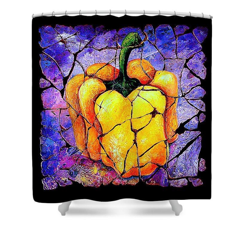 Sweet Pepper Fresco Antique Shower Curtain featuring the painting Sweet Pepper by OLena Art Lena Owens
