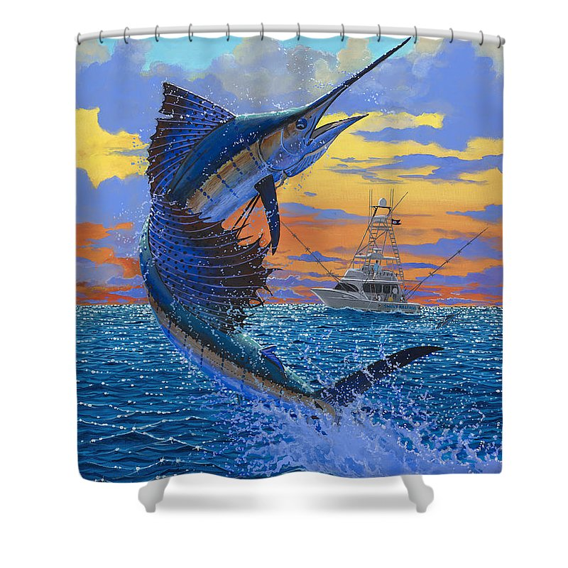 Sailfish Shower Curtain featuring the painting Sweet Release by Carey Chen