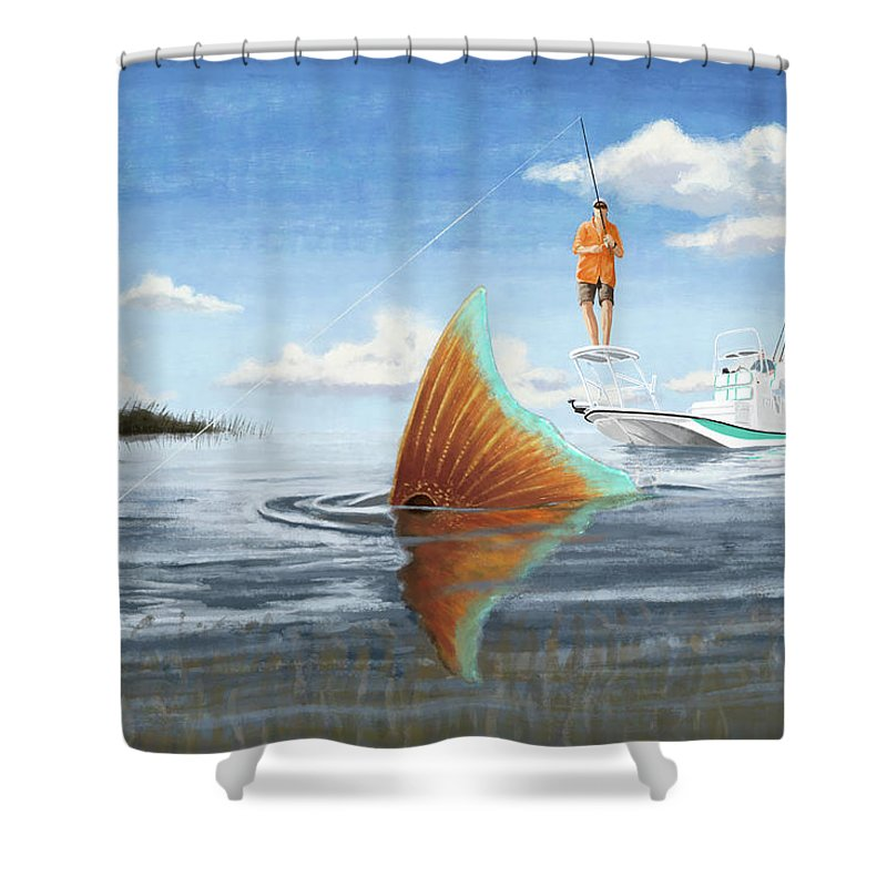 Red Fish Shower Curtain featuring the digital art Sweet Spot by Kevin Putman
