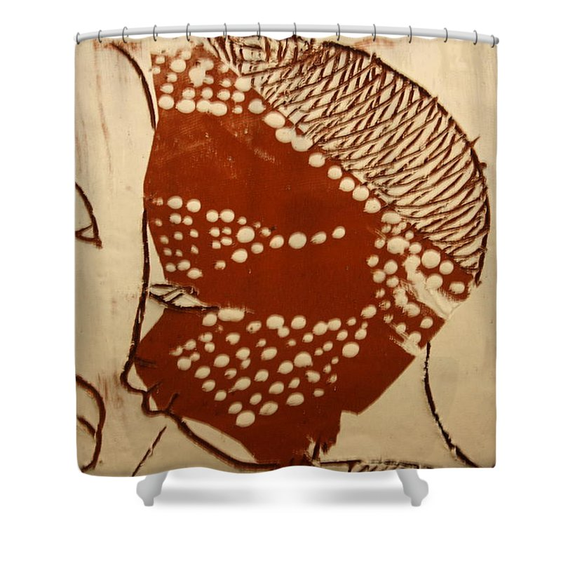 Jesus Shower Curtain featuring the ceramic art Sweethearts 1 - Tile by Gloria Ssali