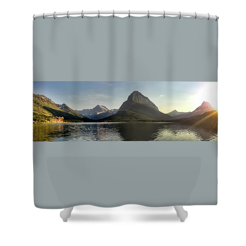 Water Shower Curtain featuring the photograph Swift Current Panorama by Alan Anderson