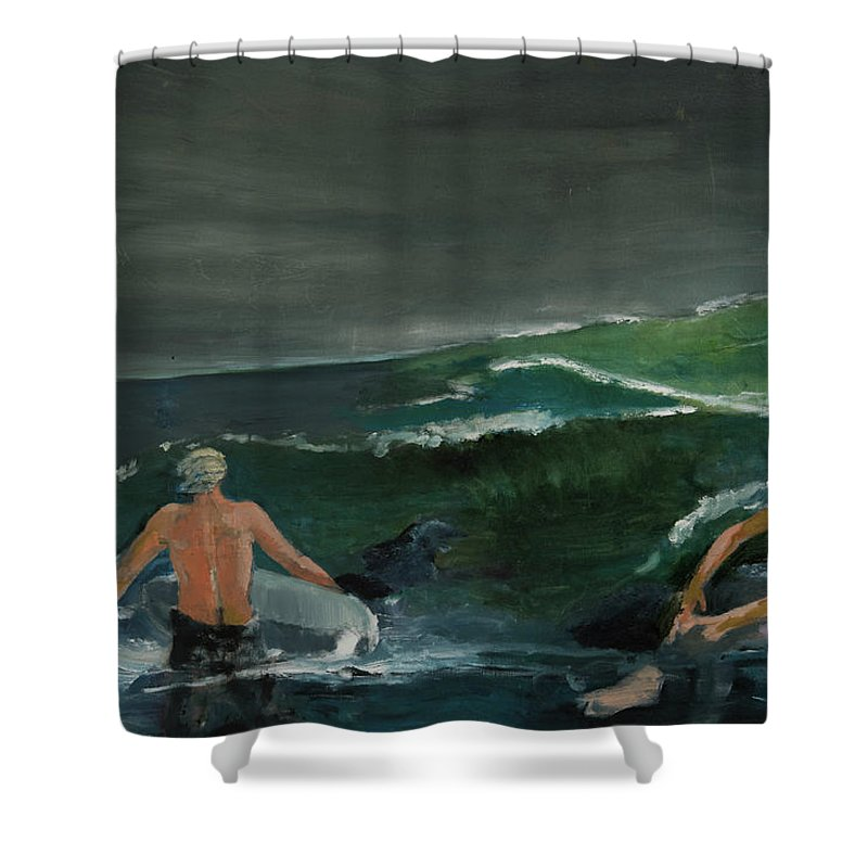 Ocean Shower Curtain featuring the painting Swim At Your Own Risk by Craig Newland