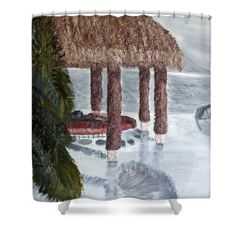 Still Life Paintings Shower Curtain featuring the painting Swim To A Beach Bar Cool Huh by Leslye Miller