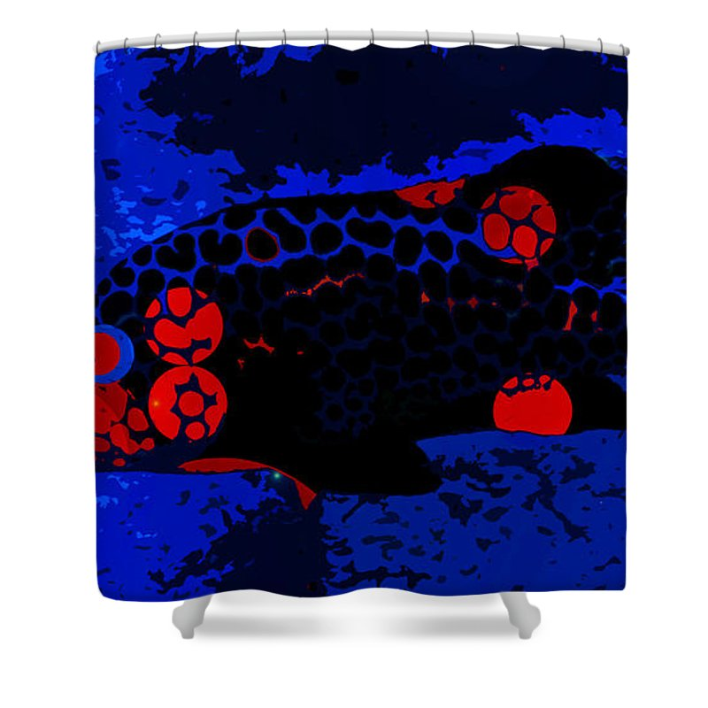 Swimming In Blue Coral Shower Curtain featuring the painting Swimming In Blue Coral by David Lee Thompson
