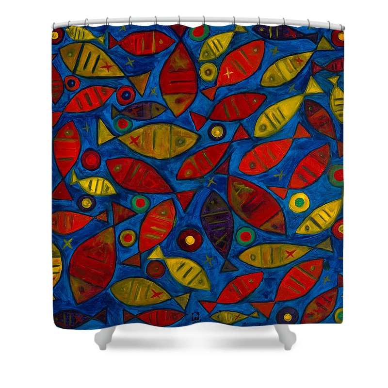 Fishes Shower Curtain featuring the painting Swimming With The Fishes by Emeka Okoro