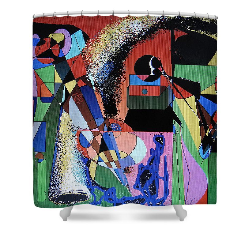 Jazz Shower Curtain featuring the digital art Swinging Trio by Ian MacDonald