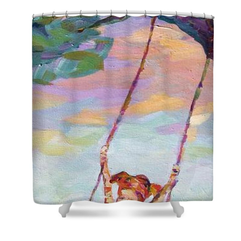 Child Swinging Shower Curtain featuring the painting Swinging With Sunset Energy by Naomi Gerrard