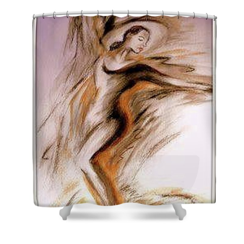 Modern Dance Shower Curtain featuring the painting Swirl Girl by Nancy Daly