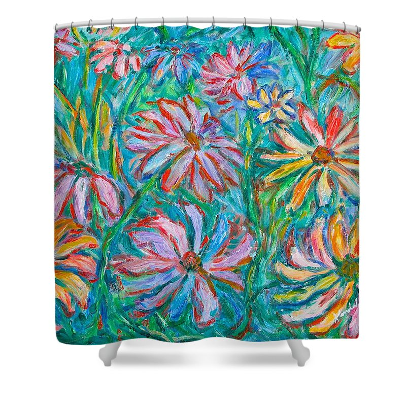 Impressionist Shower Curtain featuring the painting Swirling Color by Kendall Kessler