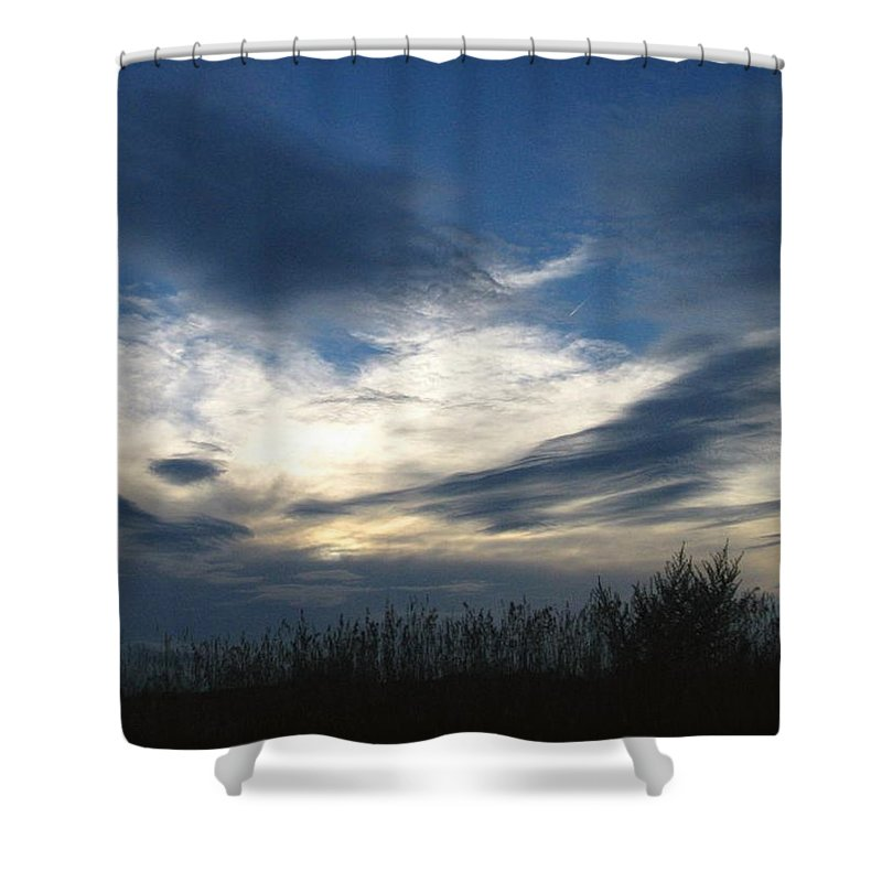 Sky Shower Curtain featuring the photograph Swirling Skies by Rhonda Barrett