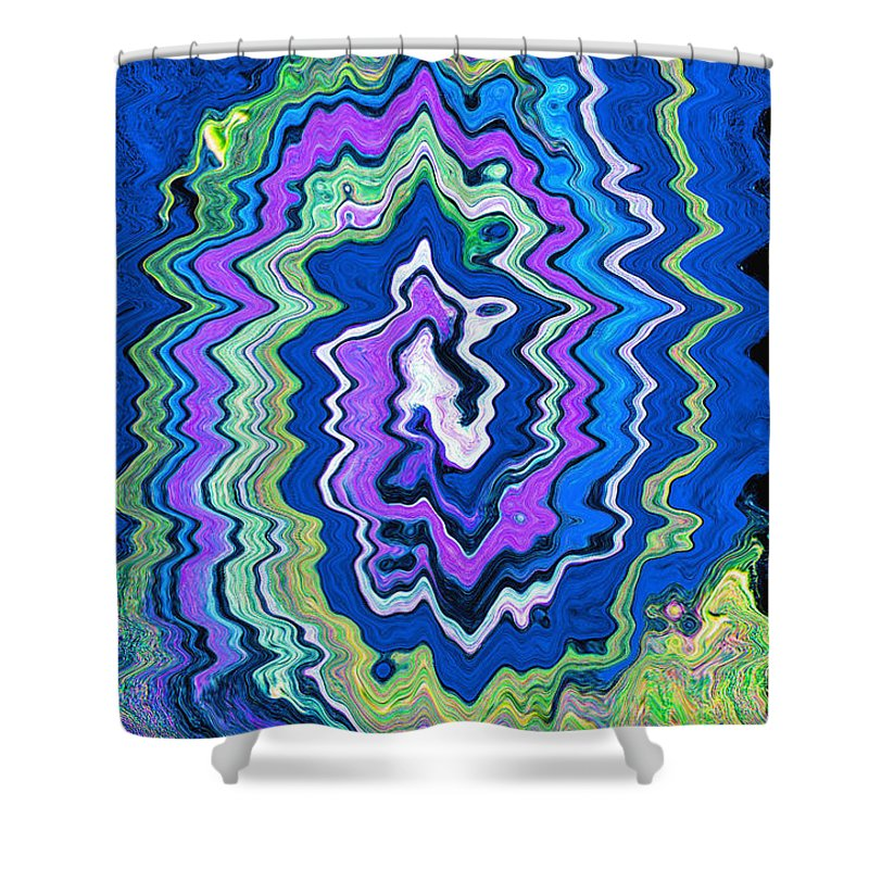 Abstract Shower Curtain featuring the painting Swirling Wave by Wayne Potrafka