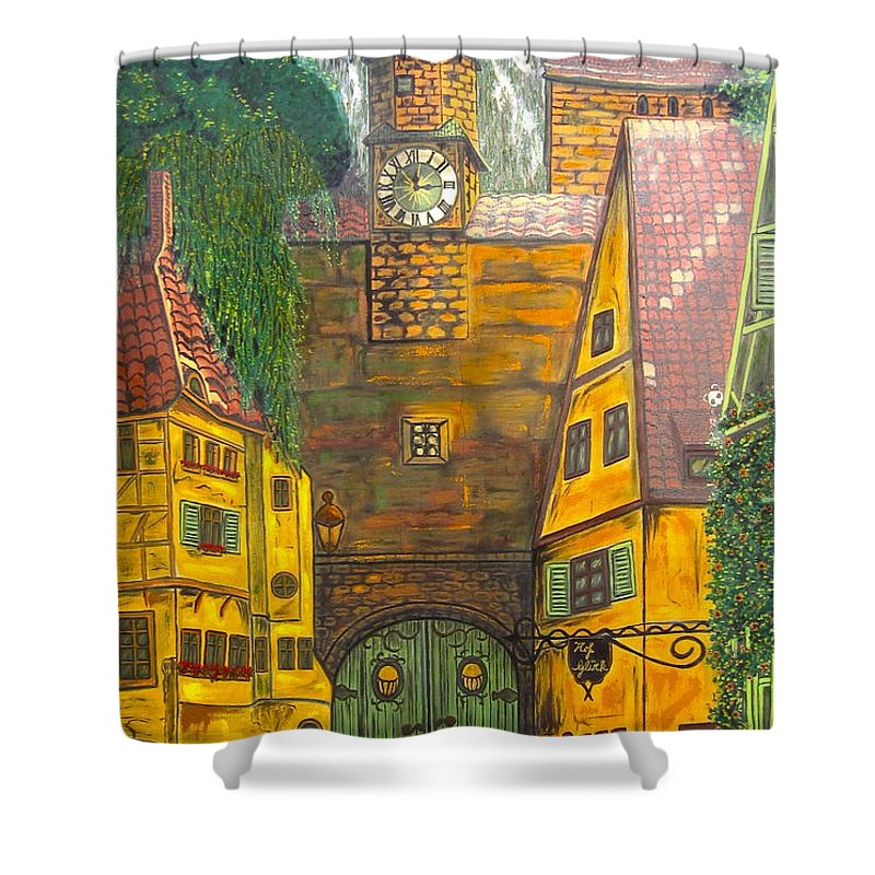 Switzerland Shower Curtain featuring the painting Swiss Birthday Party by V Boge