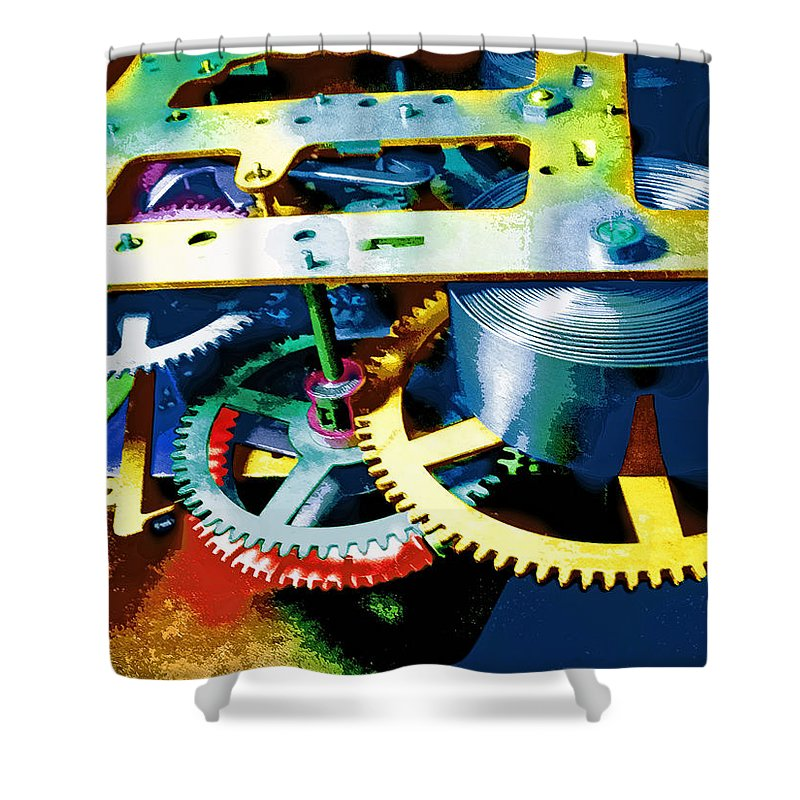 Swiss Movement Shower Curtain featuring the mixed media Swiss Movement by Dominic Piperata