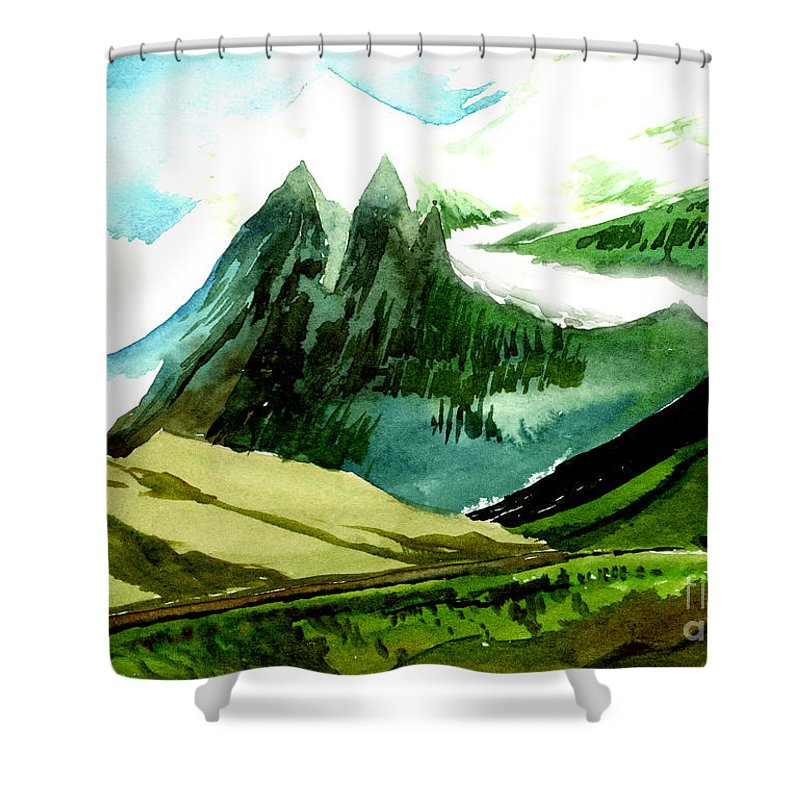 Landscape Shower Curtain featuring the painting Switzerland by Anil Nene