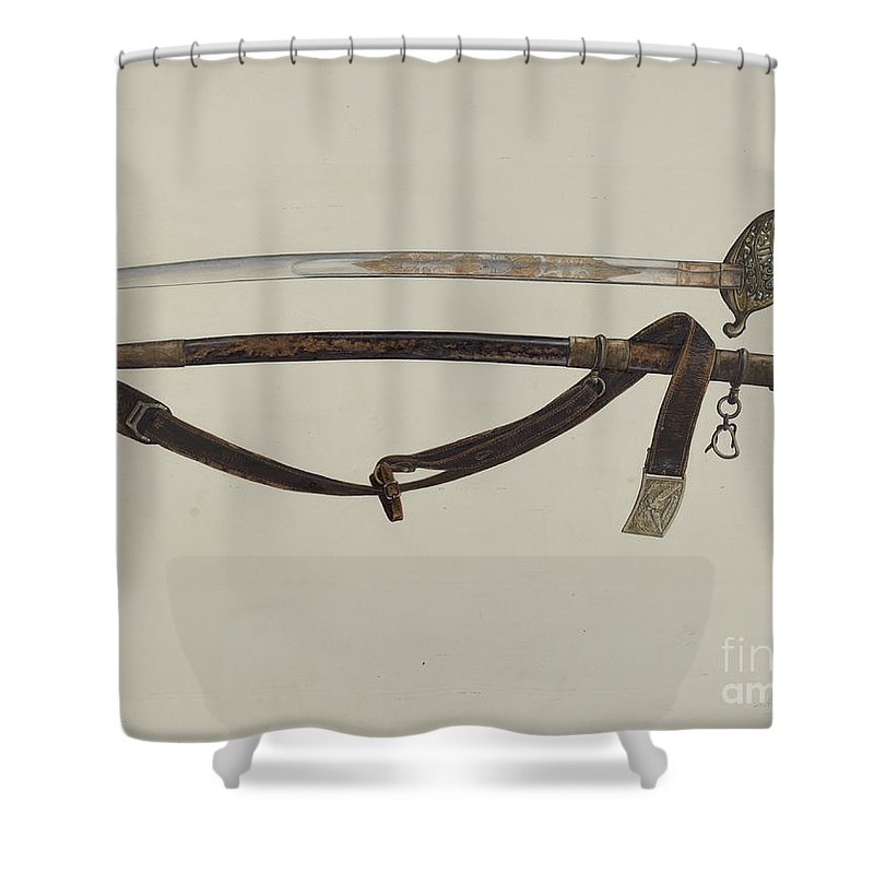 Shower Curtain featuring the drawing Sword by A.r. Tolman