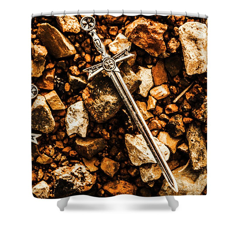 Battlefield Shower Curtain featuring the photograph Swords And Legends by Jorgo Photography - Wall Art Gallery