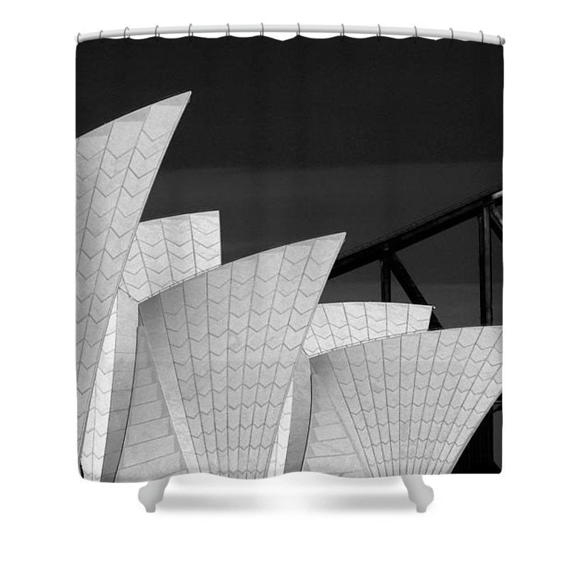 Sydney Opera House Shower Curtain featuring the photograph Sydney Opera House with bridge backdrop by Sheila Smart Fine Art Photography