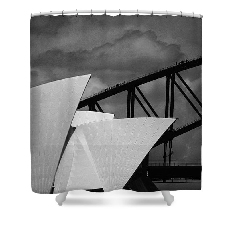 Sydney Opera House Shower Curtain featuring the photograph Sydney Opera House With Harbour Bridge by Avalon Fine Art Photography