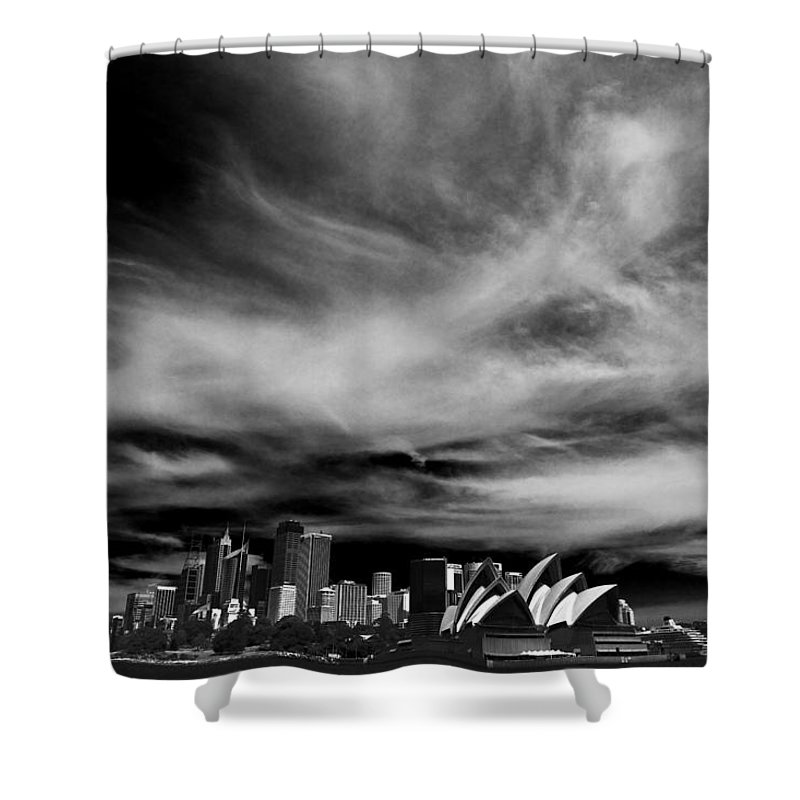 Sydney Shower Curtain featuring the photograph Sydney skyline with dramatic sky by Sheila Smart Fine Art Photography