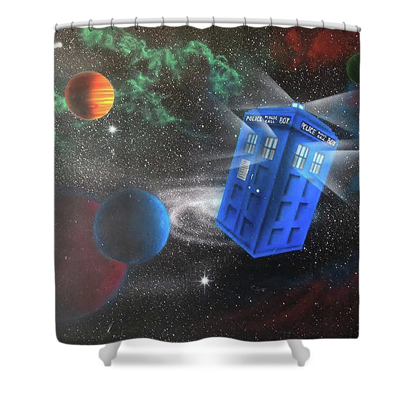 Airbrush Shower Curtain featuring the painting Syfy- Tardis 2 by Shawn Palek