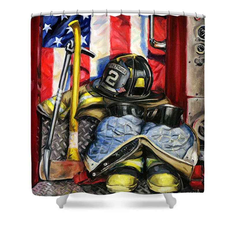 Firefighting Shower Curtain featuring the painting Symbols Of Heroism by Paul Walsh