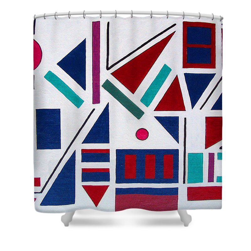 Abstract Shower Curtain featuring the painting Symmetry In Blue Or Red by Marco Morales