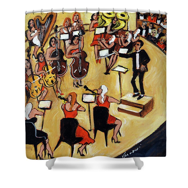 Carnegie Hall Orchestra Shower Curtain featuring the painting Symphony by Valerie Vescovi