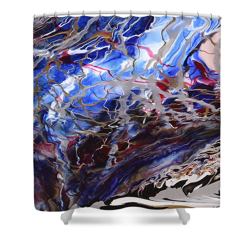 Fusionart Shower Curtain featuring the painting Synapse by Ralph White